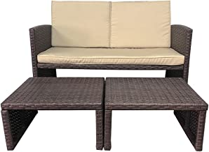 OC Orange-Casual 3 Piece Patio Furniture Set Outdoor Conversation Set All-Weather Wicker Loveseat with Ottoman/Side Table,...