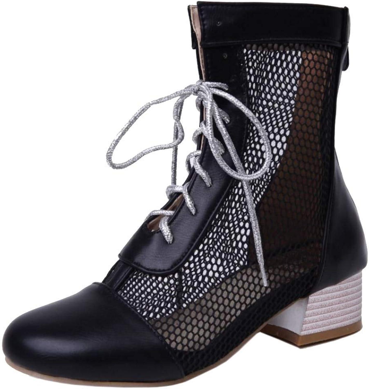 Unm Women's Chunky Heel Short Bootie Zip