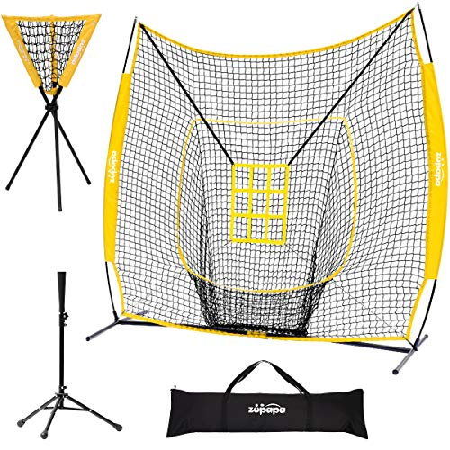 Zupapa 7x7 Feet Baseball Softball Hitting Pitching Net Tee Caddy Set with Strike Zone, Baseball Backstop Practice Net for Pitching Batting Catching for All Skill Levels (Yellow)
