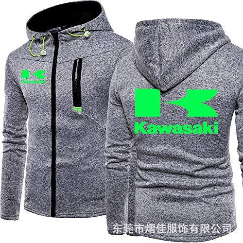 OUTWEAR Männer Kapuzenpullover Pullover Jacke - Kawasaki Sweatshirt Baseball Uniform Teen Trendy Gradient Zip Hooded Sweater Cardigan Frühling Ärmel Sportswear (Gift) B-S