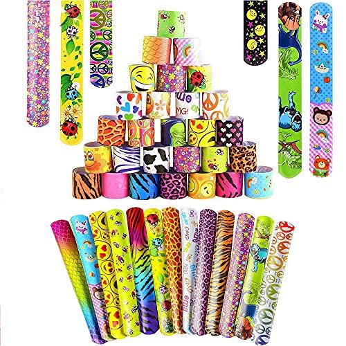 Slap Bracelets, PARTYPIE 55 Piezas Pulsera Bofetada Pulseras de Juguete Slap, Rellenos de Bolsa de Fiesta Fiesta Cumpleaños de Infantil Banda de Pulsera para Niñas Niños