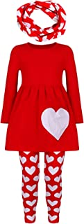 Amor Bee Girls Girls Valentine's Day Themed Outfit Set w Infinity Scarf Tunic Legging Scarf 3pcs Set
