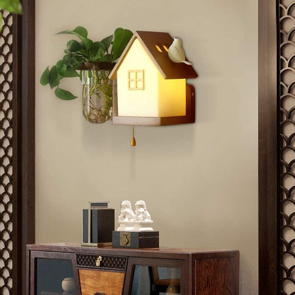 Beige House Wall security Lamp Popular standard Vintage Wooden Bedroom 1 Light w Bulb