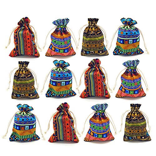 12pc Egyptian Style Jewelry Coin Pouches Aztec Print Drawstring Gift Bag Party Accessories Brocade Cotton Sachet Candy Present Pouch Travel Purse Ethnic (Egypt 12)