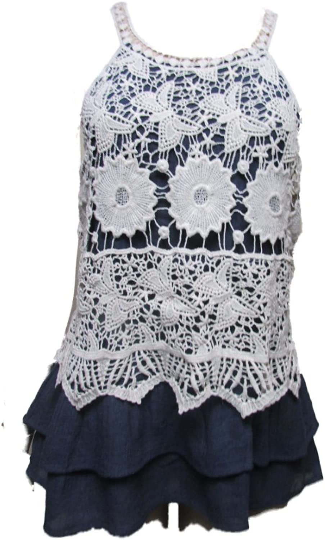 Entro Women's Crochet Tiered Blouse