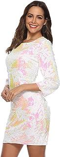 Vestido de Cadera Lentejuelas Sexy de Manga Larga Vestido de Manga Larga para Dama Vestido Ajustado para Banquete para Mujer - Talla L (Blanco)