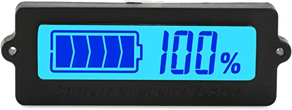 Battery Meter, DROK Blue Back-light LCD Battery Capacity Monitor DC 8-63V Digital Battery Tester Automotive, Lithium ion Battery Electric Quantity Detector 12V 24V 36V 48V Lead Acid Battery Status