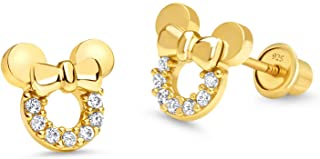 14k Gold Plated Brass Mouse Cubic Zirconia Screwback Baby Girls Earrings with Sterling Silver Post