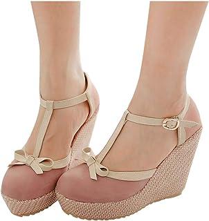 Women Platform Wedges Shoes Sandals, Ladies Solid Bowknot Buckle High Heel Sandals