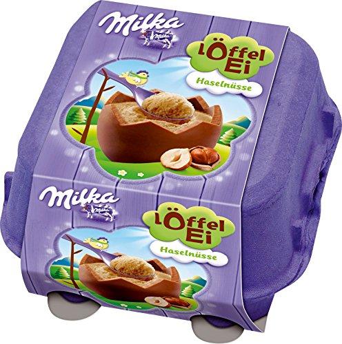Milka LOFFEL Ei, Filled HAZELNUT Eggs, 4 piece, 136g From Germany