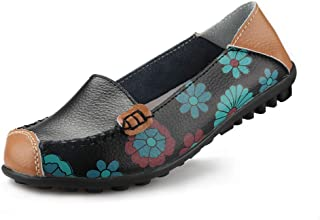 Womens Comfortable Leather Floral Print Flats Casual Driving Loafers Walking Shoes for Women