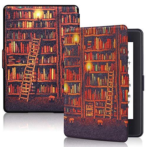 BENGKUI Estuche de impresión para Amazon Kindle 8th SY69JL 2016 Modelo Van Gogh Design Skin Flip Smart Cover Tablet Funda E-Book Case para Kindle 8th, Bookstore Gold