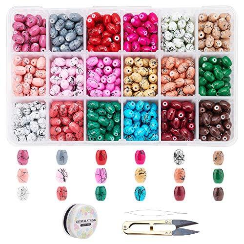 SUPERFINDINGS 900pcs 18 Colores Kits de Cuentas de Vidrio Ovaladas Pintadas En Aerosol con Tijeras E Hilo de Cristal Elástico Y Agujas de Abalorios para Hacer Joyas, Pulseras, Collares