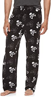 Men's Skulls Crossbones Print Ultra-Soft Brushed Microfleece Sleep Bottoms Lounge Pajama Pants