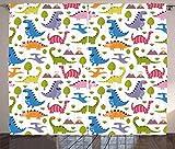 ABAKUHAUS Dino Cortinas, Dinosaurios Coloridos, Sala de Estar Dormitorio Cortinas Ventana Set de Dos Paños, 280 x 175 cm, Multicolor