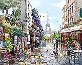 Tsvetnoy - Kit de pintura por números para adultos, para principiantes y niños con pinturas acrílicas, pinceles y lienzo con marco de 40 x 50 cm, diseño de París en primavera