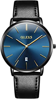 Mens Minimalist Ultra Thin Watches Fashion Casual Analog Quartz Date Watch Waterproof,Male Slim Simple Alloy Big Face Dial Dress Wrist Watch with Retro Genuine Leather Band for Men YPF