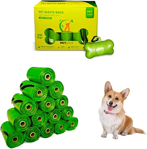 Pet Love Dog Poop Bag with Dispenser, Biodegradable Cat Dog Waste Bags Scented, 16 Rolls 240 Bags, Leak Proof and Ext...