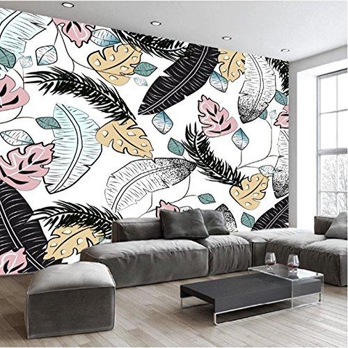 Yosot 3D Abstracto Plumas En Blanco Y Negro De La Hoja De Banano Sofá Antecedentes Wall 3D Papel Pintado Mural Dormitorio-400Cmx280Cm