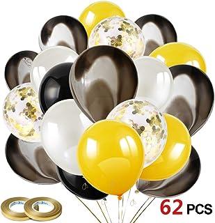 Howaf Globos Oro Negro Plata, 60 Piezas Globos de látex Confetti Globos Dorado para Mujeres Hombres Cumpleaños Decoración, graduación, Fiesta de Halloween