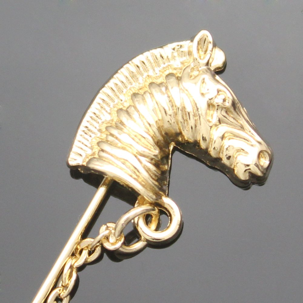 """Q&Q Fashion Gold Horse Chain Western Cowboy Lapel Stick Pin Brooch Badge for Tie Hat Scarf,3.1"""""""