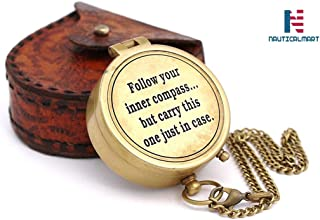 NAUTICALMART Follow Your Inner Compass/Inspirational Gift/Directional Magnetic Compass for Navigation/Pocket Compass for Camping, Hiking, Touring