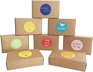 EAST-WEST Trading GmbH '12Cajas de Regalo Natural Marrón para Regalos pequeños, Candy de Cajas, para Galletas, Caramelos, decoración, Cajas de Regalo con 24netten Sprüche de Pegatinas