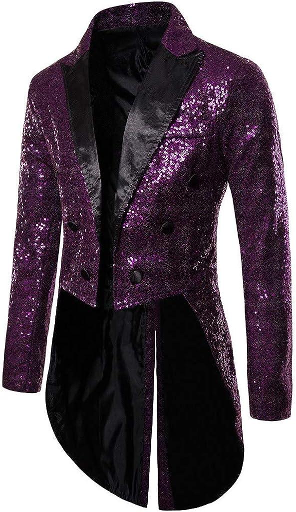 eipogp Men's Sequins Long Suit Jacket Luxury Blazer Slim Fit Tuxedo Prom Cosume Stylish Notched Lapel Coat for Party