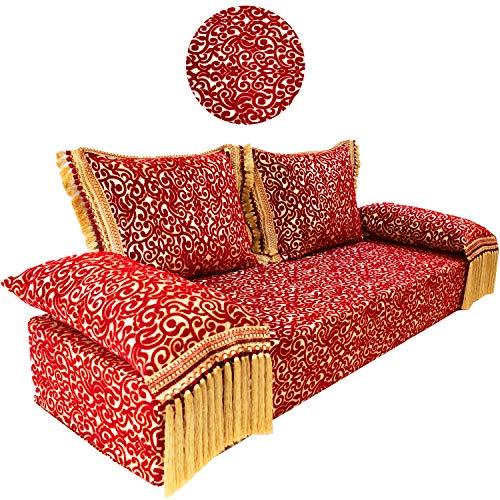 Sofá oriental Yassir de 200 cm, 3 plazas, juego de sofá marroquí para salón, incluye cojín de sofá, sofá árabe combinable como sofá esquinero o salón en forma de L o U