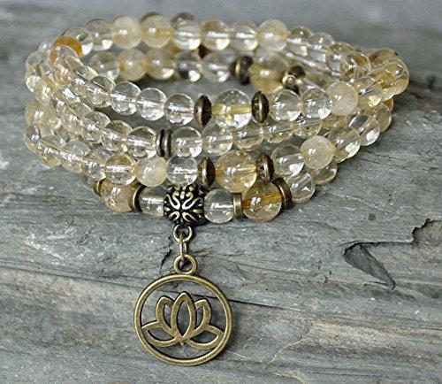 Abundance, Success Citrine 108 Mala Prayer Beads, Lotus...