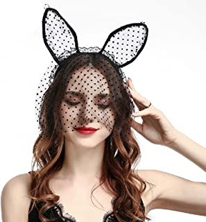 Halloween Headband Cat Ears Lace Veil Hair Band Headdress for Women Girls Kids, Perfect Hair Accessories for Halloween Ball Party Masquerade and Cosplay.