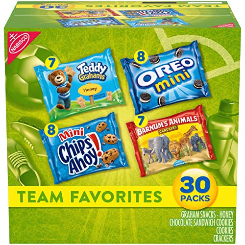 Nabisco Team Favorites Variety Pack OREO Mini CHIPS AHOY Mini Teddy Grahams Honey amp Barnum#039s Animal Crackers 30 Snack Packs