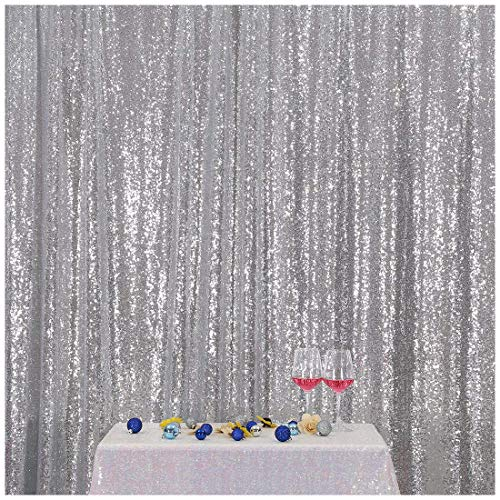 Poise3EHome 4FT x 7FT Sequin Photography Backdrop Curtain for Party Decoration, Silver