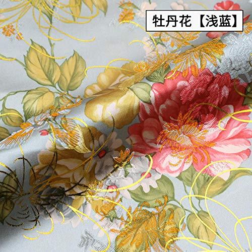 JKLAQ Telas por Metros para Vestidos- Estilo Chino Brocado Vestido Chino Cheongsam Seda Jacquard Tela Ropa, Flor De Peonía Azul Claro 0.5M