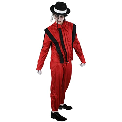 Mens Pop Star King of Pop Hat with Black Hair Halloween Costume Accessory
