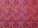 Minerva Crafts Brokat-Stoff, Blumenmuster, Rot / Violett,