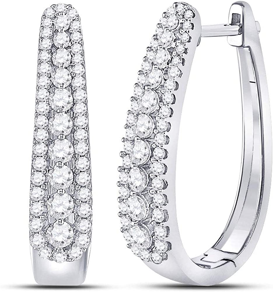 10kt White Gold Womens Round Cut Oblong Hoop National products Diamond Dealing full price reduction 7 Earrings
