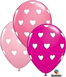 """Pioneer Balloon Company 11"""" BIG HEARTS LATEX ASST, Pink"""