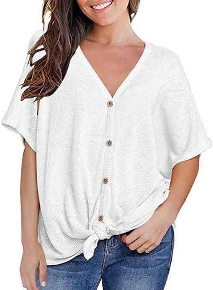 Womens Waffle Knit Tie Knot Tunic Blouse Short Sleeve Tops Loose Fitting Bat Wing Shirts