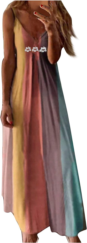 Women's Casual Summer Maxi Dresses Sleeveless Camisole V-Neck Print Maxi Tank Long Dress Floral Bohemia Swing Dress