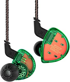 KZ ES4 Hybrid IEM Earphones,Yinyoo ES4 HiFi Stereo Deep Bass Earbuds with Balanced Armature Dynamic Driver&3.5mm Audio Plug Detachable Cable Noise Isolating Headset Headphones for Sports(Green Nomic)