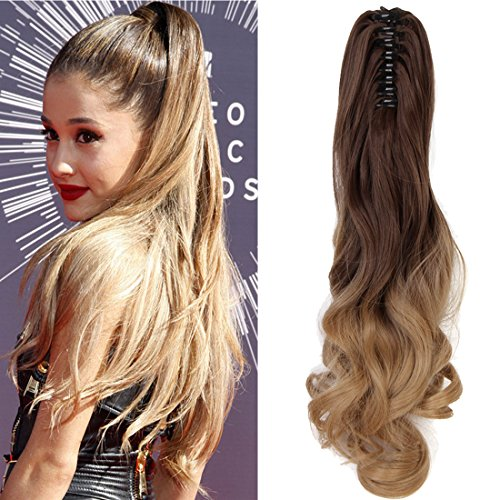 "Neverland Beauty 20""(50cm) Ombre Two Tone Long Big Wavy Claw Curly Ponytail Clip in Hair Extensions 8#/25#(Medium Brown to Ash Blonde)"