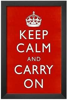 Buyartforless Work Framed Keep Calm and Carry On (Motivational, Red) 18x12 Art Poster Print