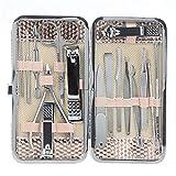 Juego de 16 piezas de manicura y pedicura de acero inoxidable con estuche, cortaúñas limpiador cutículas