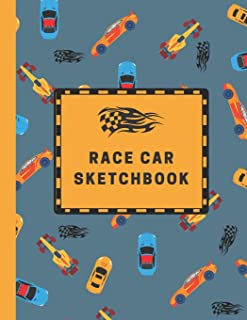 Race Car Sketchbook: Large Sketchbook with Bonus Coloring Pages 8.5