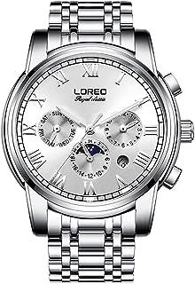LOREO Mens Automatic Multifunction Silver Stainless Steel Sapphire Glass Waterproof Blue Men's Watch
