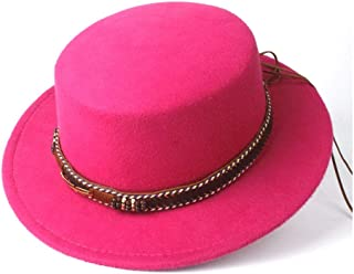 ZiWen Lu 女性男性フラットトップフェドーラ帽子付き広いつば教会帽子屋外旅行魅惑的な帽子ポークパイカジュアル野生帽子サイズ56-58センチ (色 : ローズレッド, サイズ : 56-58)