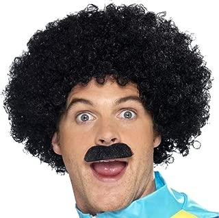 Mens 1980s 90s Fancy Dress Party Costume Wig & Moustache Scouser Set Black