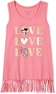 The Children's Place Girls' Graphic Fringe Tank Tops