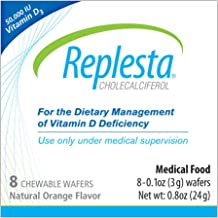 Replesta 50,000 IU Vitamin D3 Cholecalciferol Vitamin D Deficiency Chewable Wafer, Natural Orange Flavor, 8 Pack